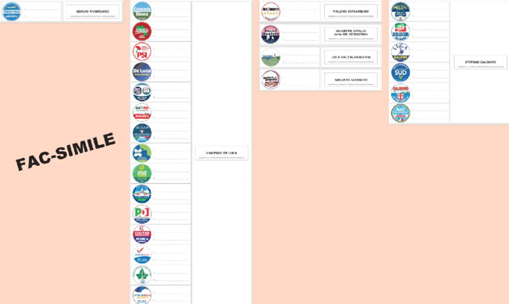 fac simile scheda elettorale elezioni regionali 2020